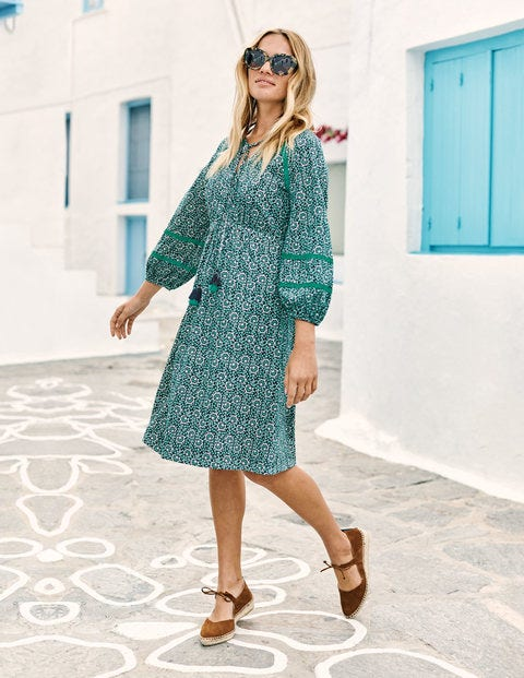Heidi Jersey Dress - Indian Ocean Island Bloom