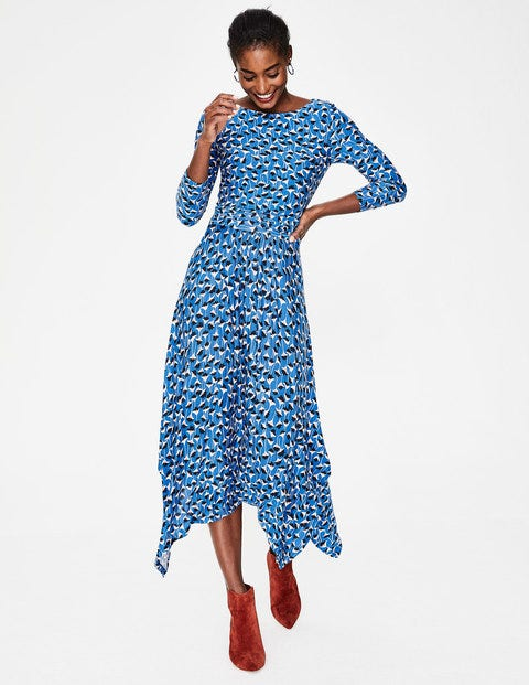 Maisie Jersey Midi Dress - Cobalt Crocus Flower