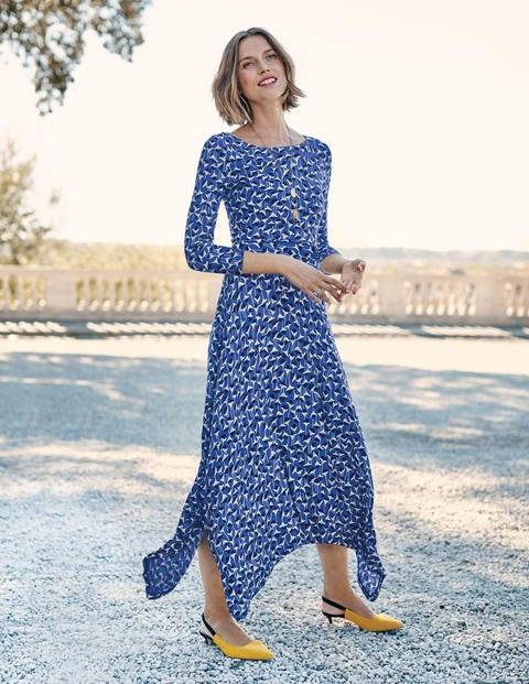Maisie Jersey Midi Dress - Cobalt Crocus Flower