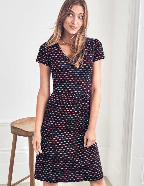 Penelope Jersey Dress - Navy/Chalky Pink Lips