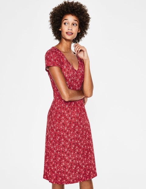 Penelope Jersey Dress - Poinsettia Sketchy Star