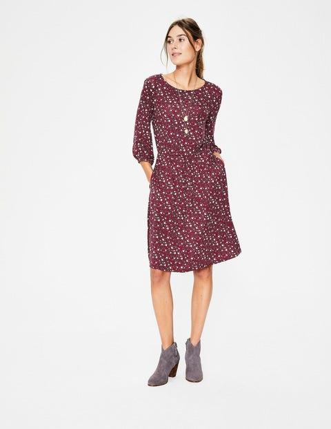 Talia Jersey Dress - Maroon Floral Sky