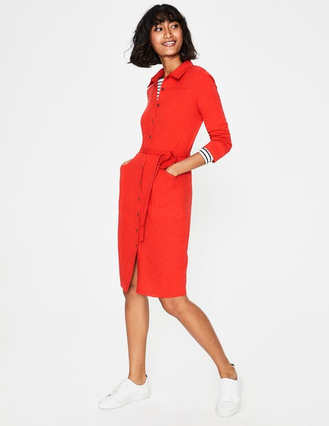 Tara Jersey Shirt Dress - Red Pop
