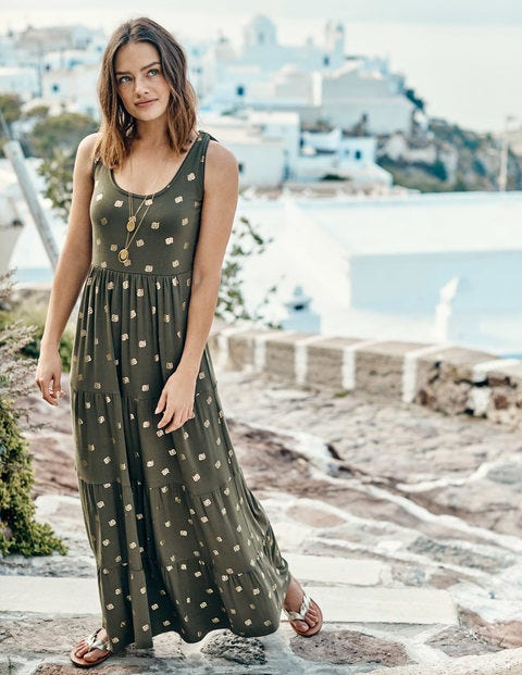 Maya Jersey Maxi Dress - Khaki Petal Foil Print