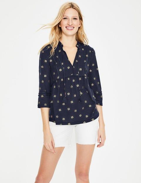 Gemma Jerseyshirt - Navy, Blütenblätter, Foliendruck