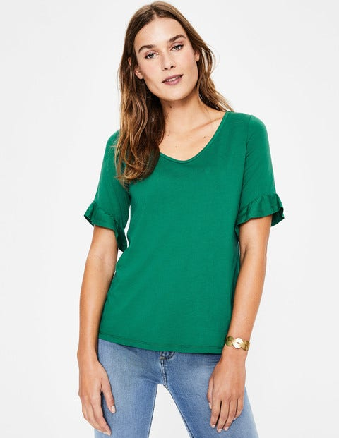 Supersoft Frilled Cuff Tee - Forest