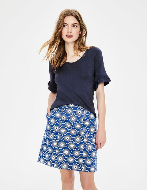 Supersoft Frilled Cuff Tee - Navy