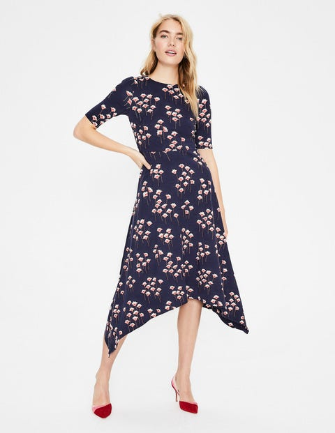 Leonie Ponte Midi Dress - Navy Crocus Spray