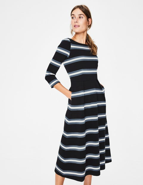 Alma Ottoman Midi Dress - Black/Ivory