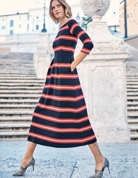 Alma Ottoman Midi Dress - Navy/Poinsettia