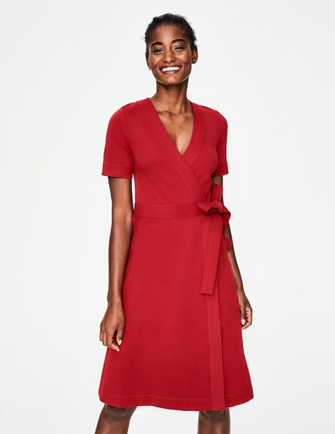 Mira Ponte Wrap Dress - Poinsettia