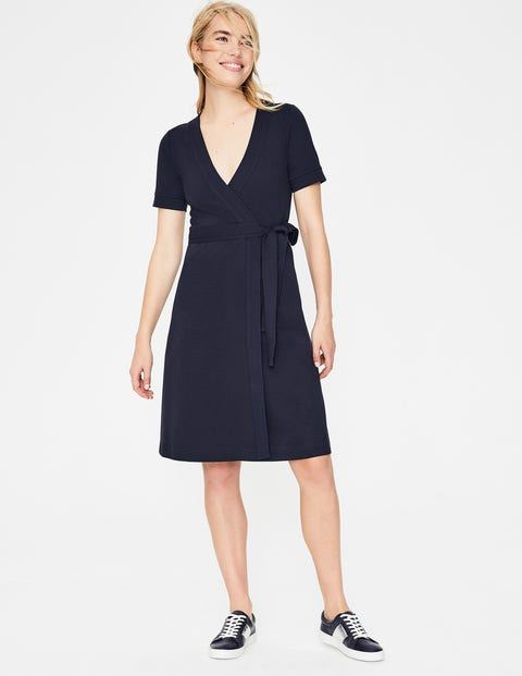 Mira Ponte Wrap Dress - Navy