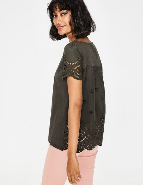 Isabella Broderie Back Top - Khaki