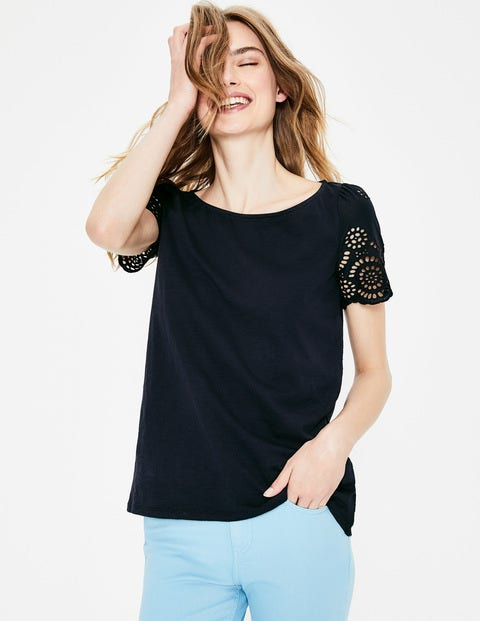 Isabella Broderie Back Top - Navy