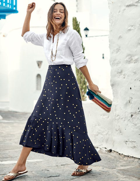Fluted Hem Jersey Skirt - Navy Foil Spot