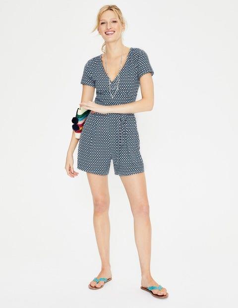 e2f735016dd Caroline Jersey Playsuit - Heron Blue Diamond Lattice