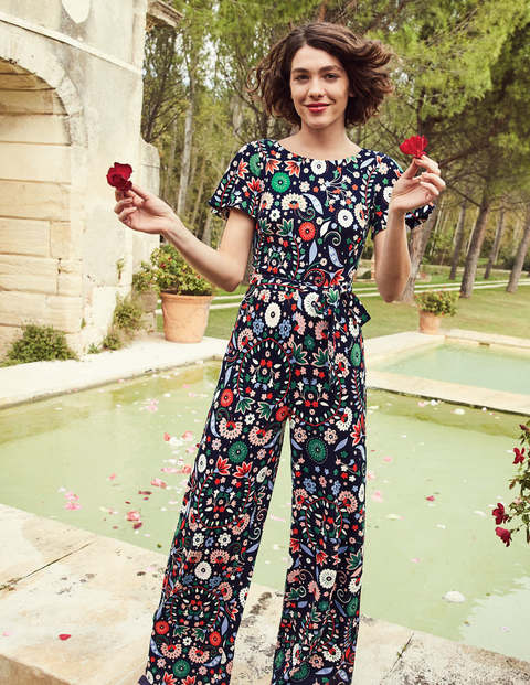 Camille Ponte Jumpsuit - Navy Folk Meadow