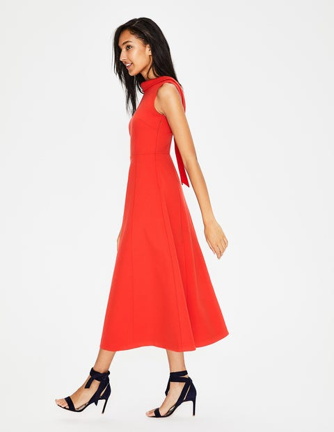 Aria Ponte Midi Dress - Red Pop