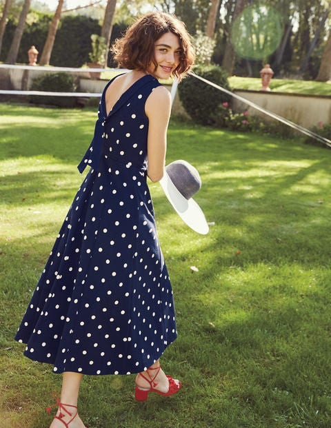 Aria Ponte Midi Dress - Navy Spot
