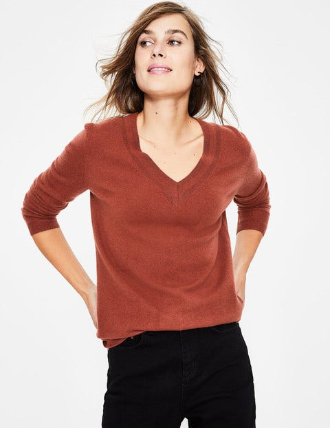Cashmere Relaxed V-Neck Jumper - Conker