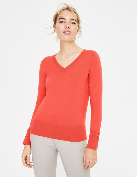 Tilda V Neck Sweater - Bright Watermelon