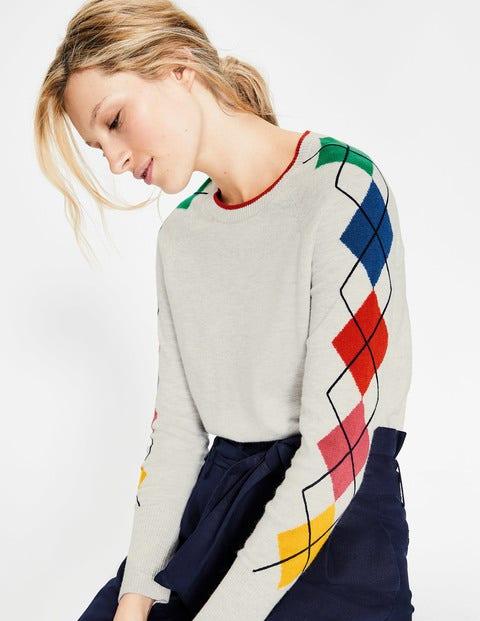 Penny Sweater - Silver Melange Argyle