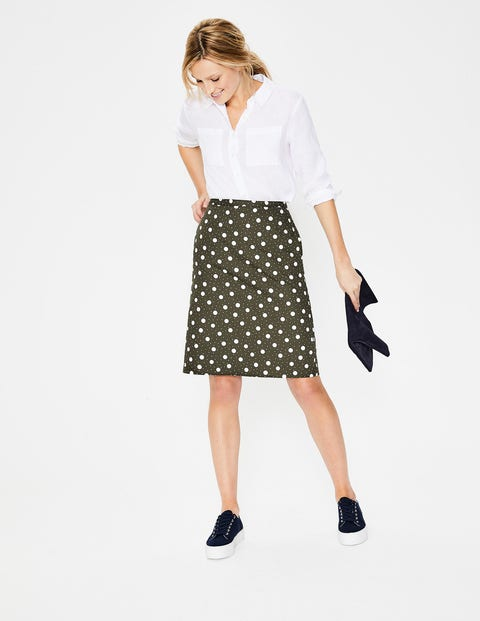 Printed Cotton A-Line Skirt - Classic Khaki, Mixed Spot