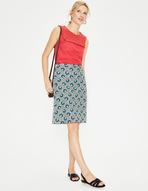 Printed Cotton A-Line Skirt - Indian Ocean, Island Bloom