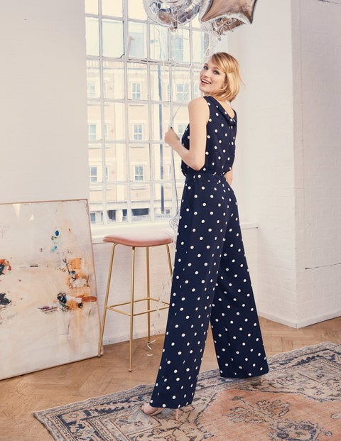 Clarissa Jumpsuit - Navy Dot