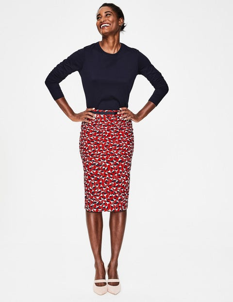 Modern Pencil Skirt - Poinsettia, Crocus Flower