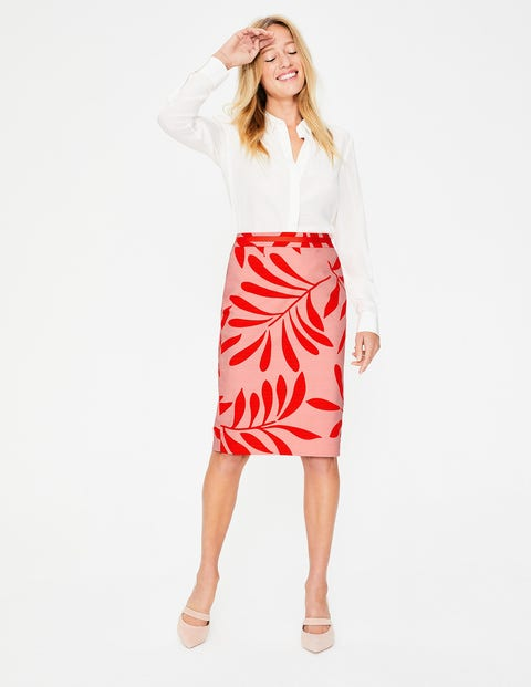 Modern Pencil Skirt - Chalky Pink, Olive Branch
