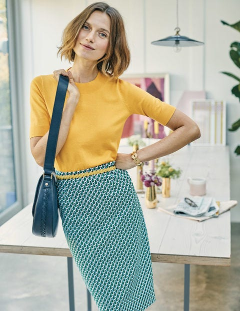 Richmond Pencil Skirt - Heron Blue Geo
