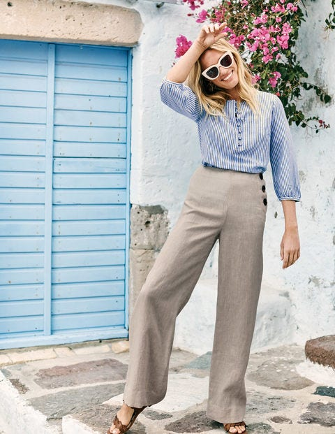 Pantalon Penzance en lin - Écru