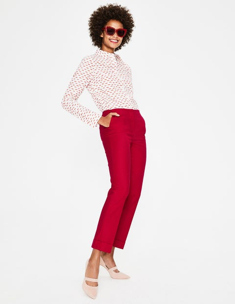 Kensington Turn-up Trousers - Dark Rose