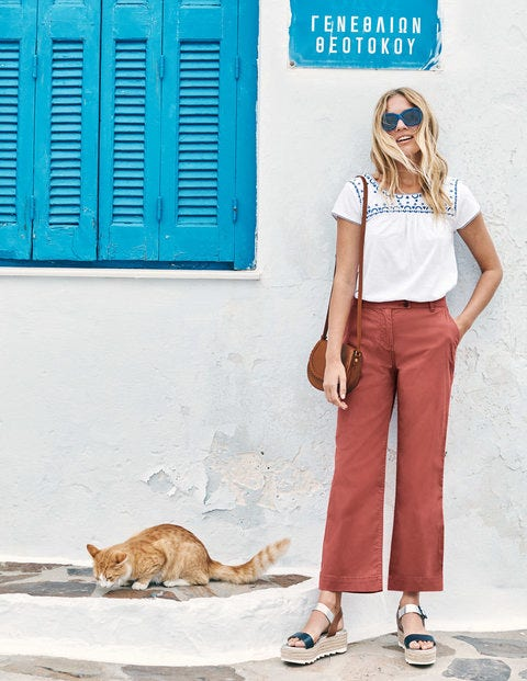 Helena Cropped Chino Trousers - Rouge