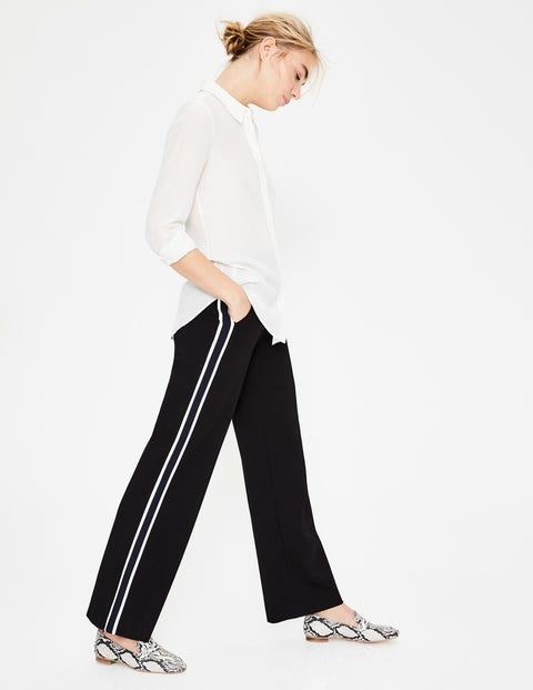 Wells Wide Leg Ponte Trousers - Black With Ivory Stripe