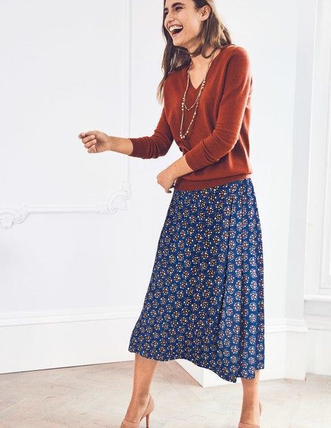 Saskia Midi Skirt - Lapis & Soft Truffle Star