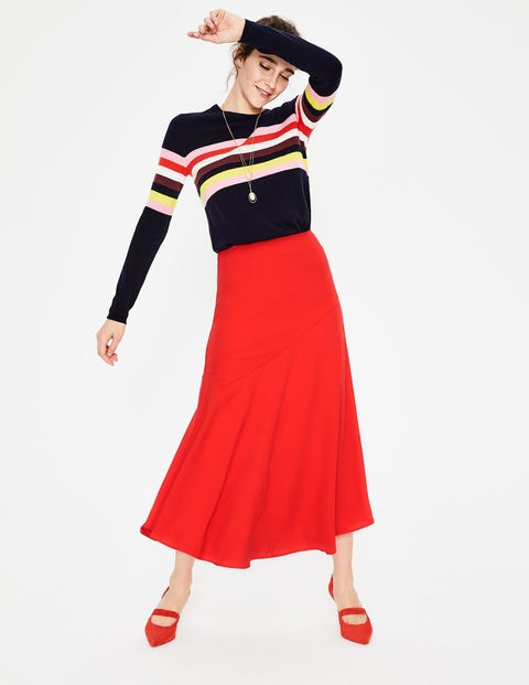 Alina Midi Skirt - Red Pop