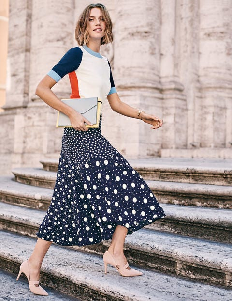 Alina Midi Skirt - Navy and Ivory, Mixed Spot