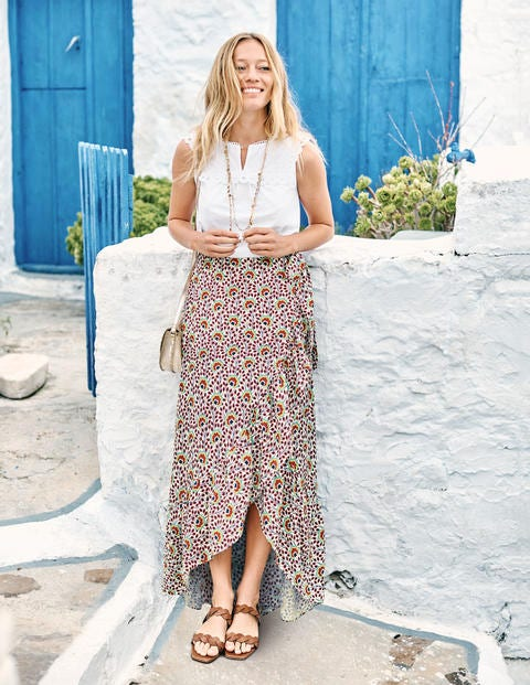 Florence Maxi Skirt - Ivory/Rouge Island Bloom