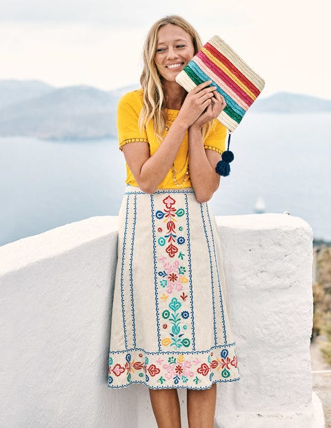 Brooke Embroidered Skirt - Floral Embroidery