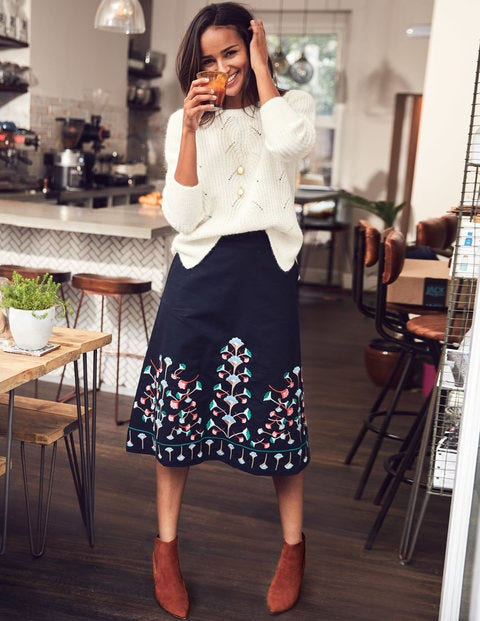 Brooke Embroidered Skirt - Navy Floral