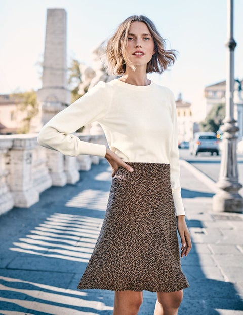 Virginia Skirt - Black and Soft Truffle Spot