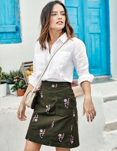 Helena Chino Skirt - Classic Khaki, Island Sprig