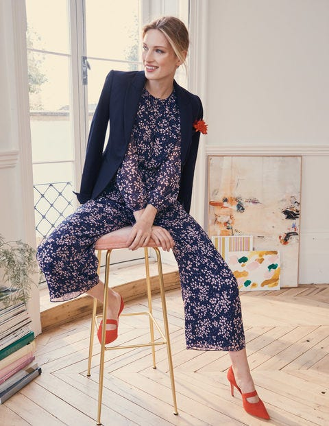 Hermione Silk Jumpsuit - Navy, Floral Bloom Spot