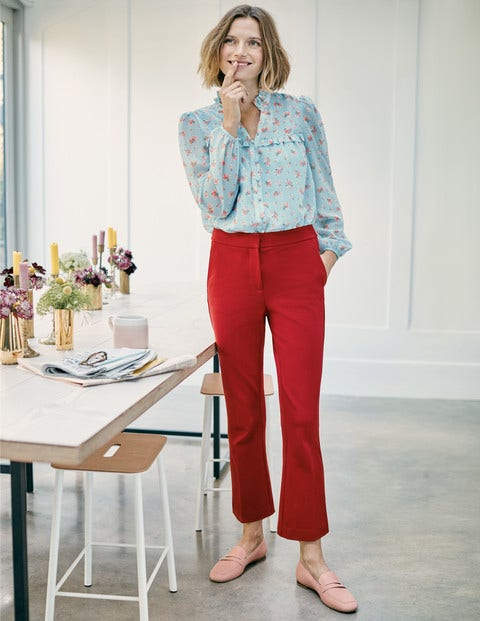 Hampshire Crop Flare Trousers - Poinsettia