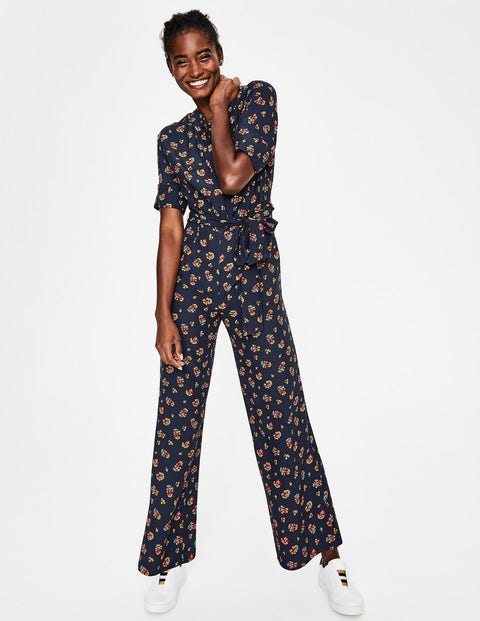 Emmeline Jumpsuit - Navy and Happy, Posy Bloom