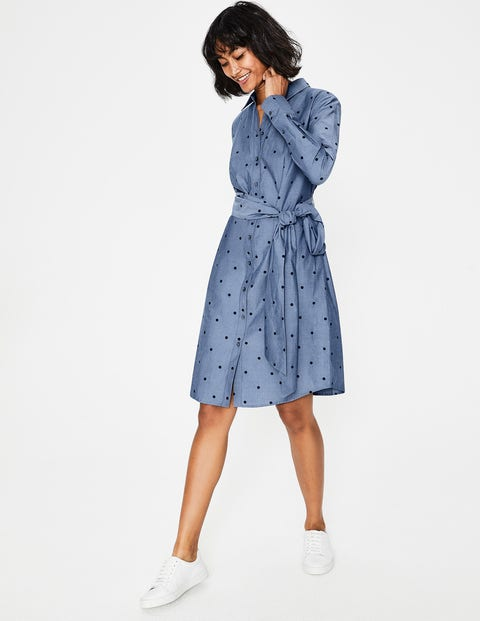 Modern Shirt Dress - Navy Chambray Spot