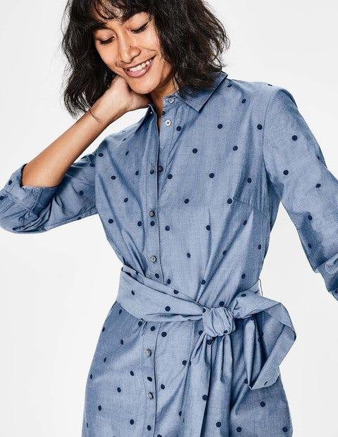 35ce808846 Modern Shirt Dress - Navy Chambray Spot