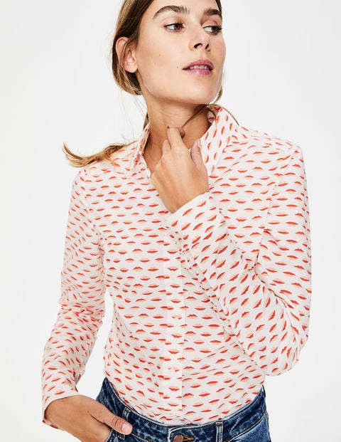 Modern Classic Shirt - Ivory & Red Pop Lips